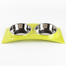 2018 Super March High quality Dog Bowls Elevated Dog Cat Bowls Double Stainless Steel Pet Bowls with No-Spill Resin