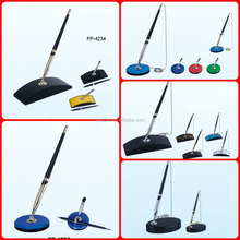 Plastic Table Pen Holder with Chain and Logo printing available/Cheap Price Table Pen Stand in Ballpoint Pen