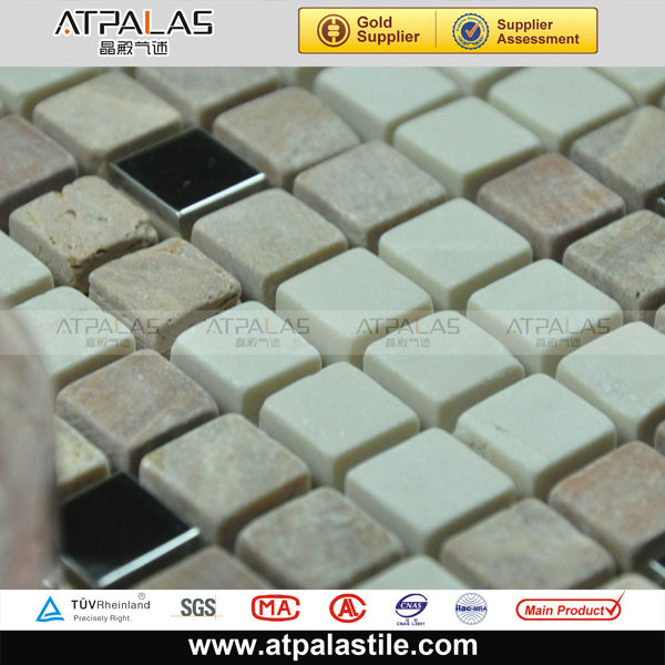 mosaic wall stone,quartzite stone mosaic,matt stone and metal mosaic