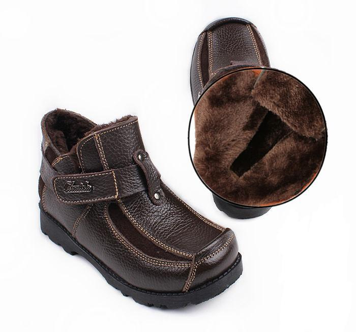 2015 Children's Spring/Autumn/Winter Cotton-padded Shoes Fashion Big Boy Thermal Genuine Leather Snow Boots Kids Warm Shoes