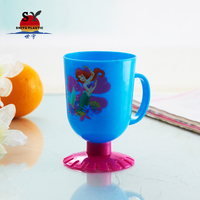 High quality china manufacturers custom 260ml colored heat transfer printing plastic cartoon cup with handle