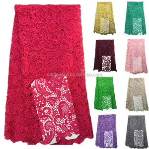 2015 embroidery designs african lace / High quality guipure lace / chemical lace fabric