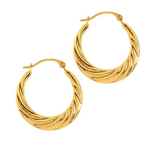 14K Yellow Gold Half Moon Swirl Hoop Earrings
