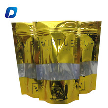 Heat seal ziplock doypack golden packaging bags with window for snack packing