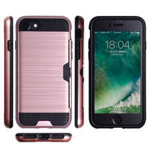Card slot case for iphone 7, Cell phone cases manufacturer brushed PC TPU 2 in 1 shockproof for iphone 7 8 plus case