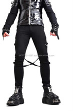 2015 GOTHIC BONDAGE SKINNY ZIPPER TIGHT GOTHIC GOTH JEANS MENS PANTS MOTO PUNK COTTON MATERIAL