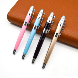 Shining black and pearl blue pink with chrome parts metal rollerball pen