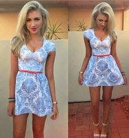 Z87630A Summer ebay hot sale beach dress woman,floral printed woman clothing,sexy club woman clothes
