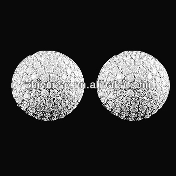 Rhodium plated 925 sterling silver CZ stud earrings