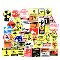 50 PCS/BAG PVC Waterproof Vinyl Graffiti Warning Sign Stickers for Car Motorcycle Bike Laptop Skateboard SnowBoard Luggage