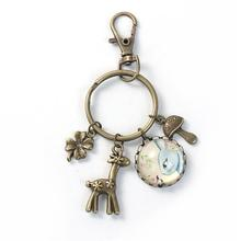 Glass Keychain & Keyring Deer Animal Antique Bronze Multicolor Four Leaf Clover