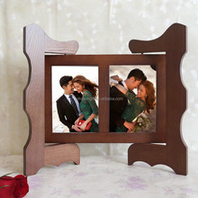 Europe Brown Color Ancient Folding Screen Revolving Solid Wood Photo frame 2 Opening For Wedding Decoration