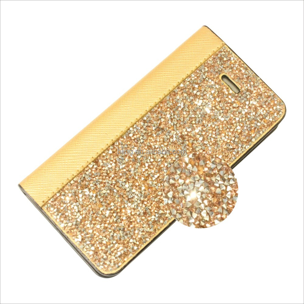New arrival Manufactory Luxury Flip Card Diary Bling Crystal Diamond Rhinestone Wallet Leather Case for Iphone 5 5s rock case