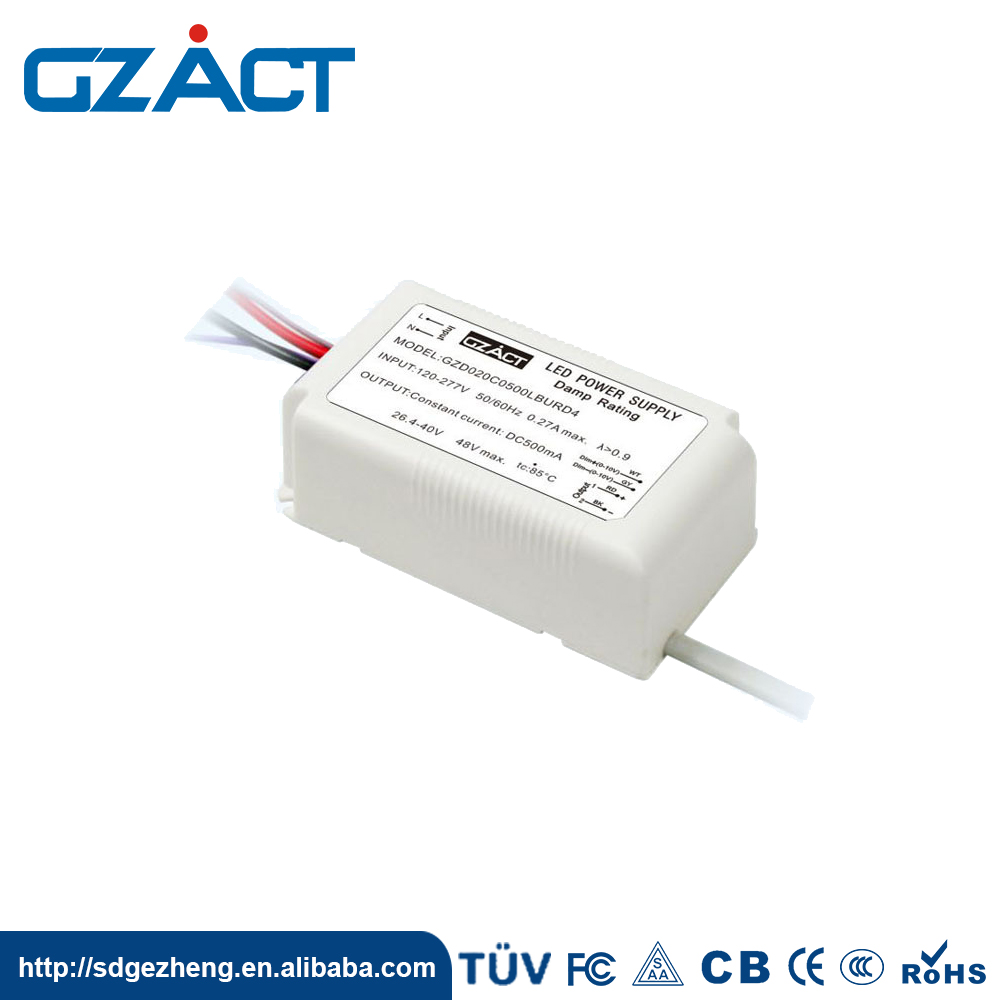 IP65 0-10V Power Supply 20W 500mA Triac Dimmable Led Driver