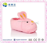 Ladies Xmas Gift Pink Bunny 3D animal head Plush Slippers