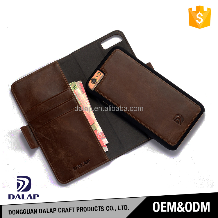 leather case for iphone 6 7, folio case with detachable hard back case