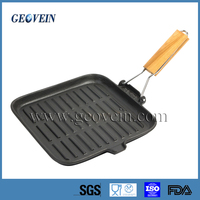 cast iron fry pan/BBQ grill pan with foldable removable handle