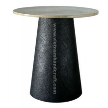 Eco-friendly handpainted vietnamese lacquered table in black and white silver leaf