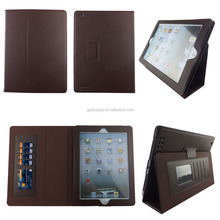Slim fit folio leather standing protective brown tablet case for iPad