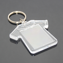 Wholesale Custom DIY Insert Picture Photo Frame T-shirt Shape Blank Key Ring Chain Holder Plastic Clear Acrylic Keychain T-shirt