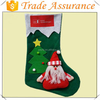 factory sale green non-woven material printing craft mini christmas stockings bulk