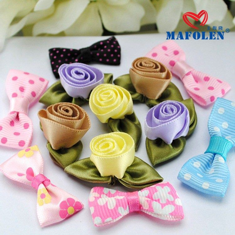handmade minid pre-tied bows making artificial silk ribbon flower