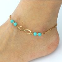 Fashion Infinity Ankle Chain Bracelet Green Stone Beads Chain Foot Anklets Bracelet For Women Bohemian Boho Beach Jewelry