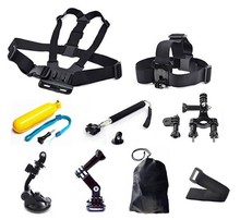 Go pro Accessories 9 in 1 Kit Chest +Head Strap+Floating Grip +Handlebar + Monopod +Suction Cup For EKEN Go pro Camera