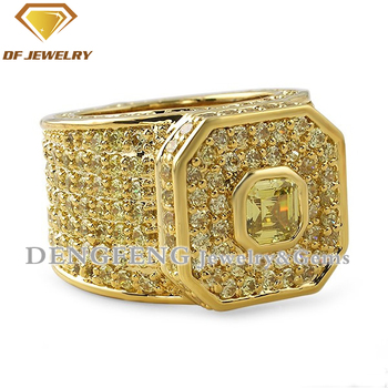 wholesale factory price 18K gold plated micro pave cz ring men silver solid gemstone ring
