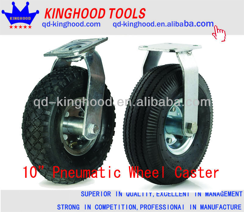 "4Pcs 10"" Pneumatic Tire caster wheel with Rigid and Swivel"