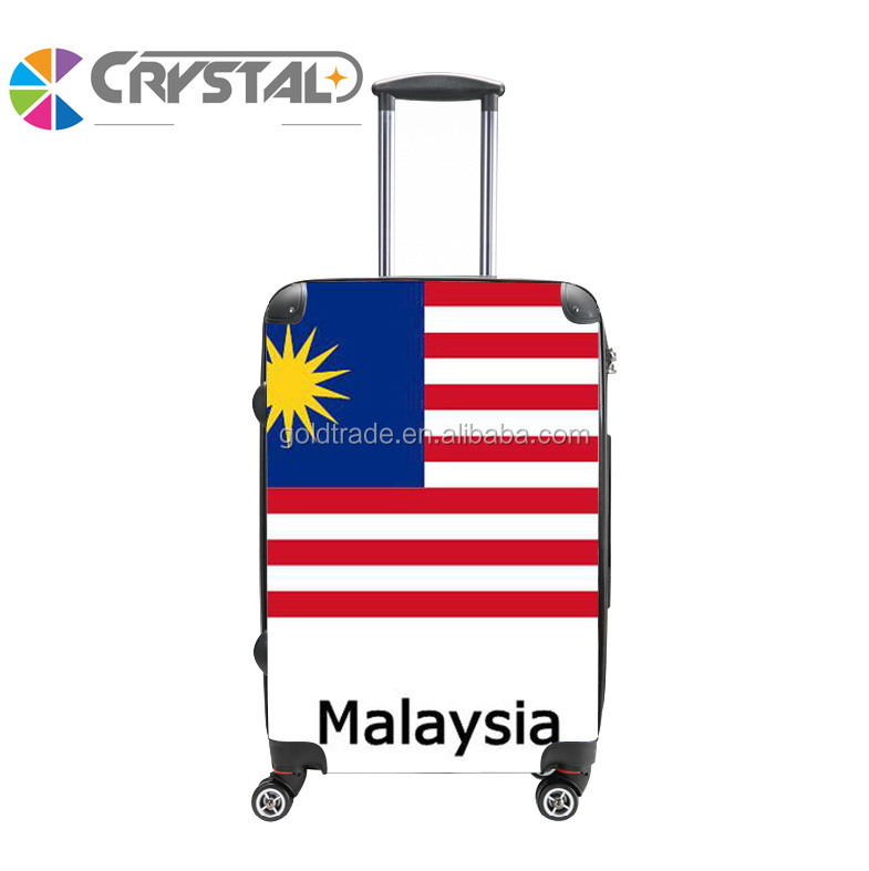 Customized Design Malaysia Flag Print Trolley ABS PC Personalized Luggage Set/Colorful Zipper Luggage, Lady Trolley Luggage