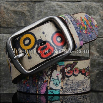 lady's drawing printing Jazz genuine leather belt knight Style belt dress belt street dance