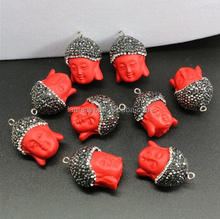LS-D2940 Wholesale NEW Paved Coral Buddha charms for jewelry making