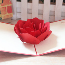 3D Red Rose Pop up Greeting Wedding Invitation Card