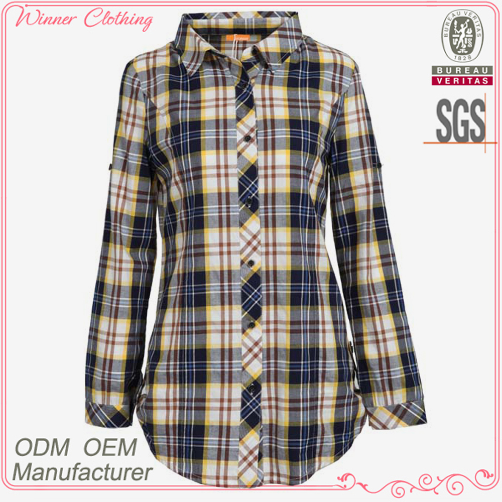 new design chinese collar checked women's shirt blouses