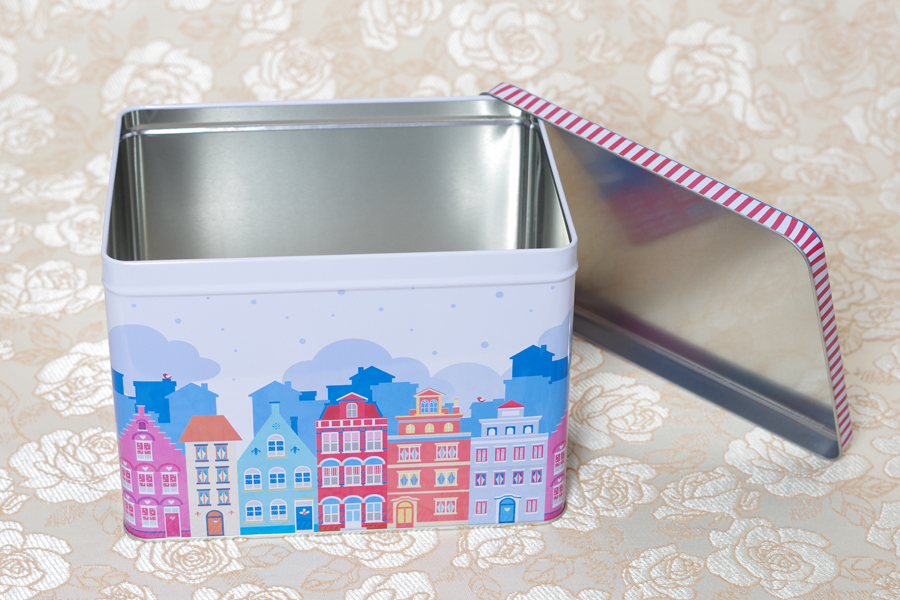 custom cube metal empty food grade biscuite tin box cans