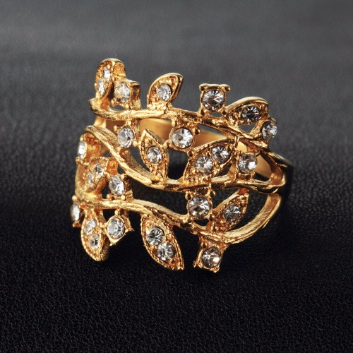 18k Gold-Plated Creative Fashion Personality Twisted Rope Modeling Diamond Luxury Zircon Leaves Crown Ring Size 7