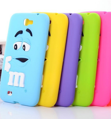 Soft silicone 3D cartoon cute M&M jelly Beans Chocolate Case For Samsung Galaxy Note2 N7100,50pcs/lot