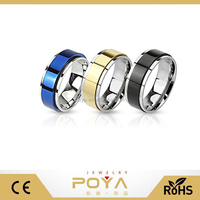POYA Jewelry 8mm Ring Set Blue Gold Black Two Toned Spinner Bands Stainless Steel Rings