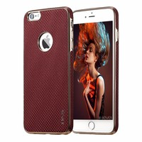 X-LEVEL Electroplating TPU + Straw Mat PU Back Cover Case Soft Ultra Thin Mobile Case For Iphone 6 S Plus Adsorbed on Car Holder