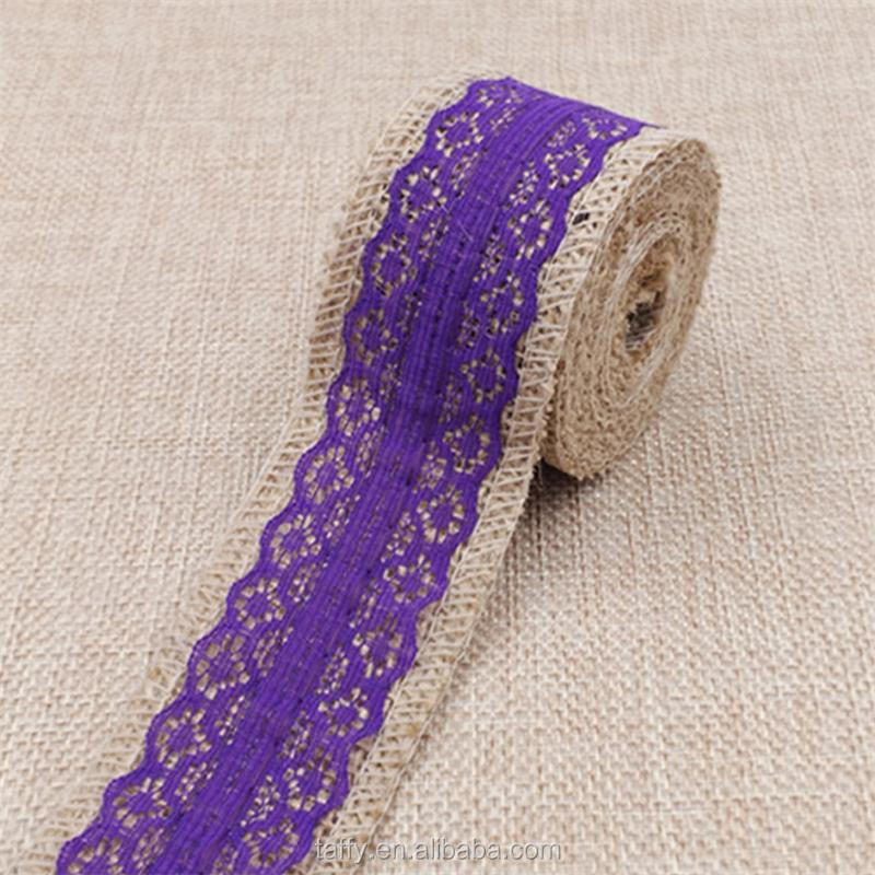 4cm Vintage Wedding Centerpieces Decoration Sisal Lace Trim natural Jute Hessian Rustic Burlap Ribbon