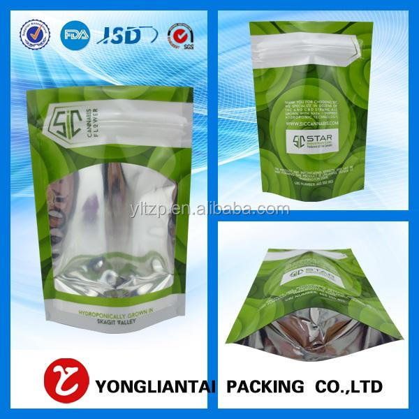 2017 Custom Stand Up Style Plastic Window Food Bags With Zipper Top