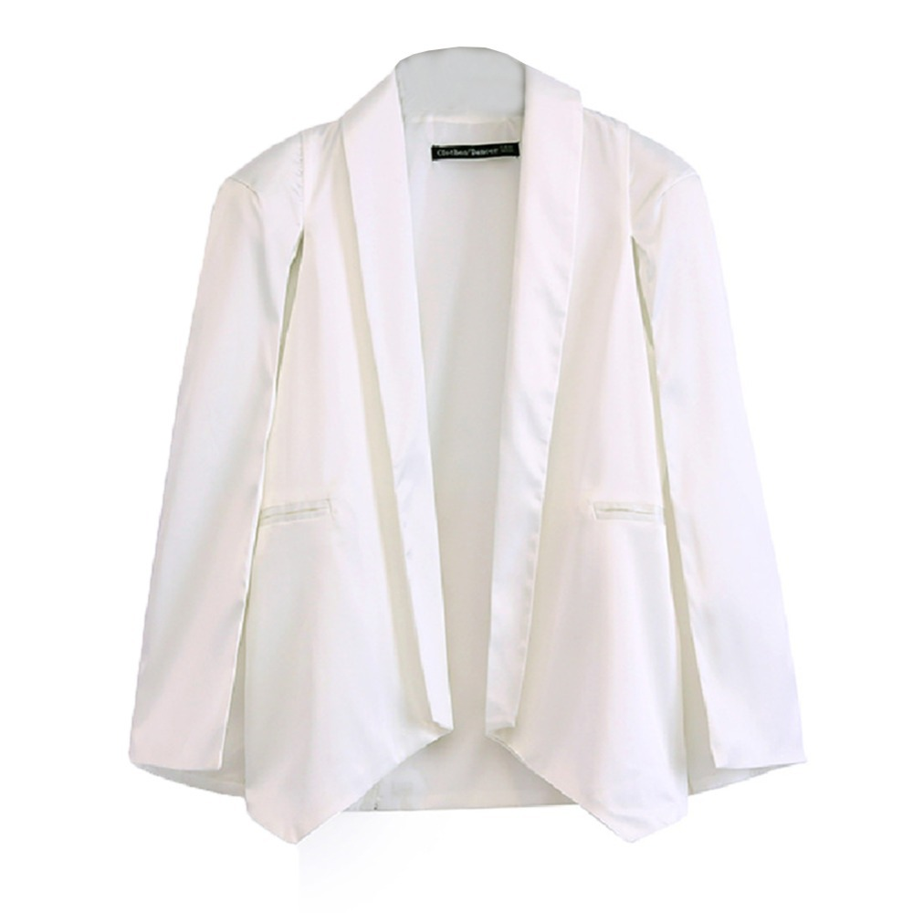 2015 Women's Brand Fashion JaneBoutique Pink/White/Black Solid Blazer Full Sleeve Chiffon Fashion Casual Blazers