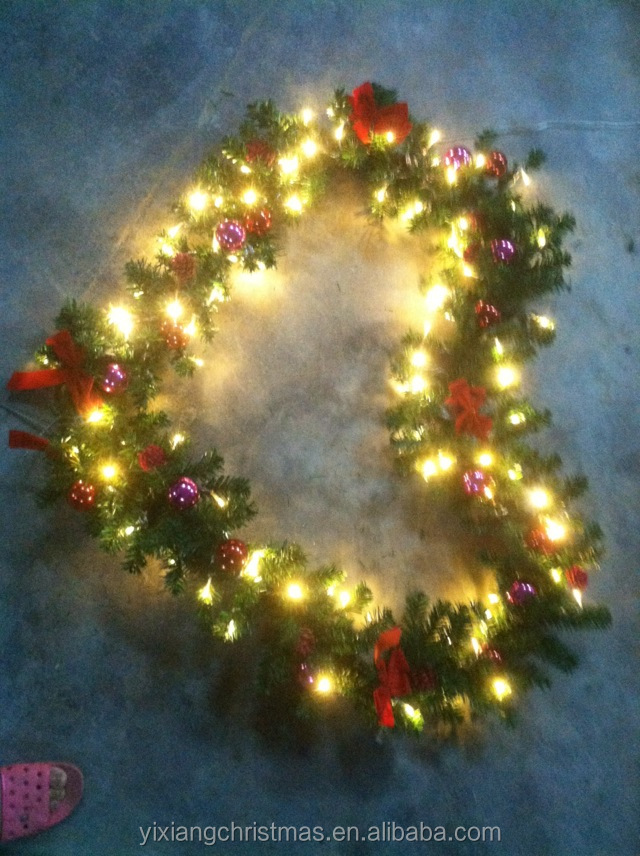 Wholesale 40cm wreaths <strong>christmas</strong> with integrated lights