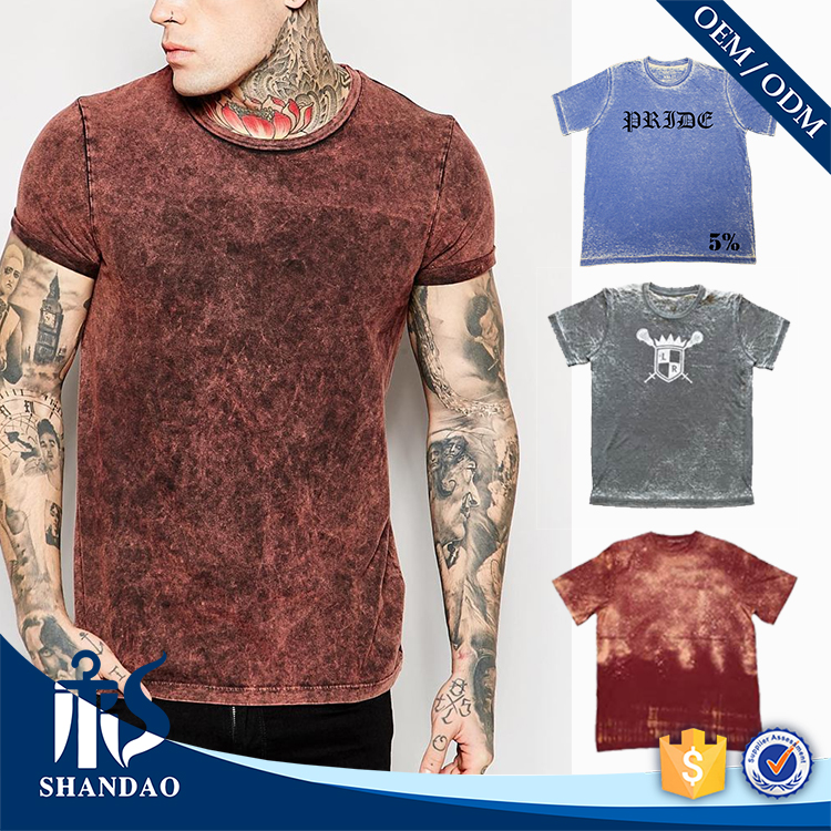 Guangzhou OEM Factory Cheap Wholesale Summer Casual 180g 100% Cotton O-Neck Short Sleeve Wholesale Acid Wash T Shirts