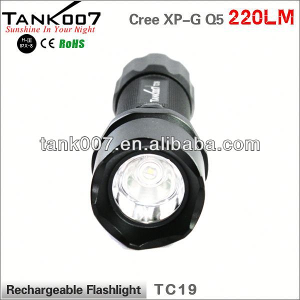 TANK007 TC19 180LM with cree xml t6 rechargeable police flashlight/hunting flashlight battery holder a732