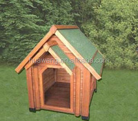 green asphalt roof wooden dog house