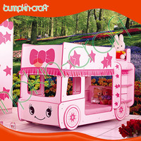 Cute design kids furniture cheap durable pick bus kids bunk beds with stairs