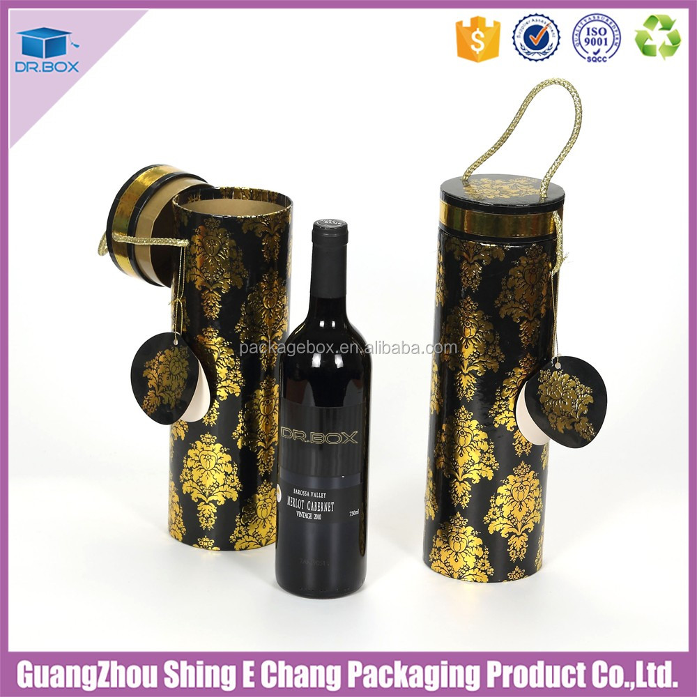 Hot selling round tube wine gift box 10x33 Foil gold finished for golden foil wine gift box