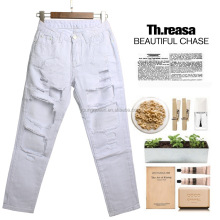 AZ06 Europe loose baggy straight plus size jeans with holes pent women